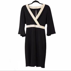 NWT Badgley Mischka Black Bell Sleeve Sheath Dress